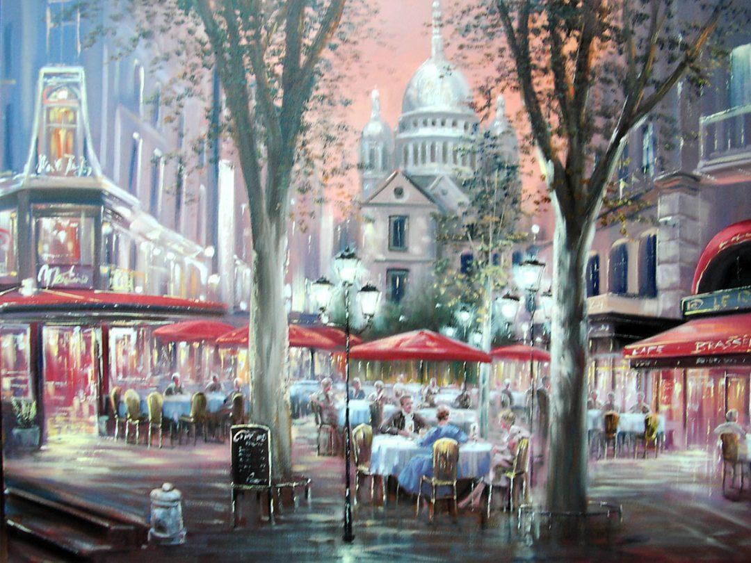 Kaffeegarten Paris, Öl auf Leinwand, Anneliese Ladas