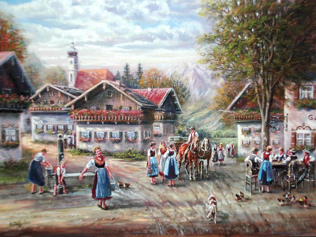 Dorfleben, Öl auf Leinwand, Anneliese Ladas