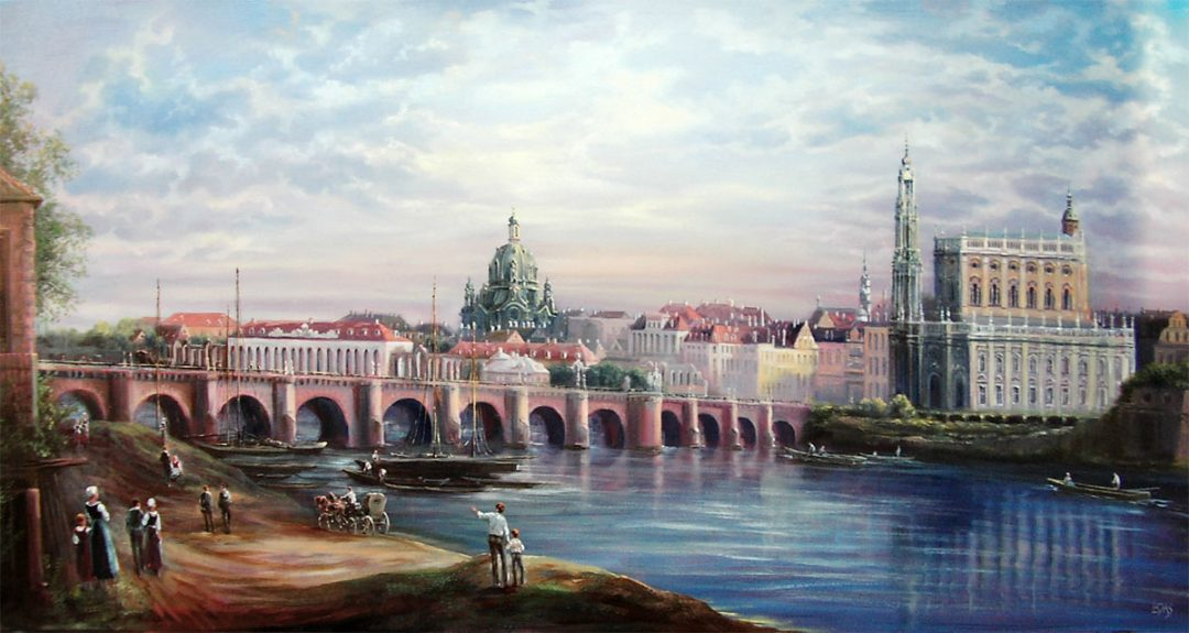 Dresden, Öl auf Leinwand, Anneliese Ladas