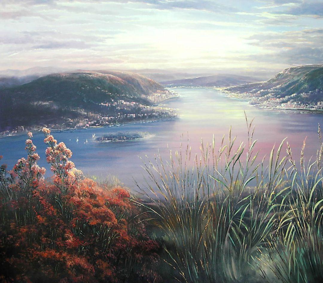 Lago Maggiore, Öl auf Leinwand, Anneliese Ladas