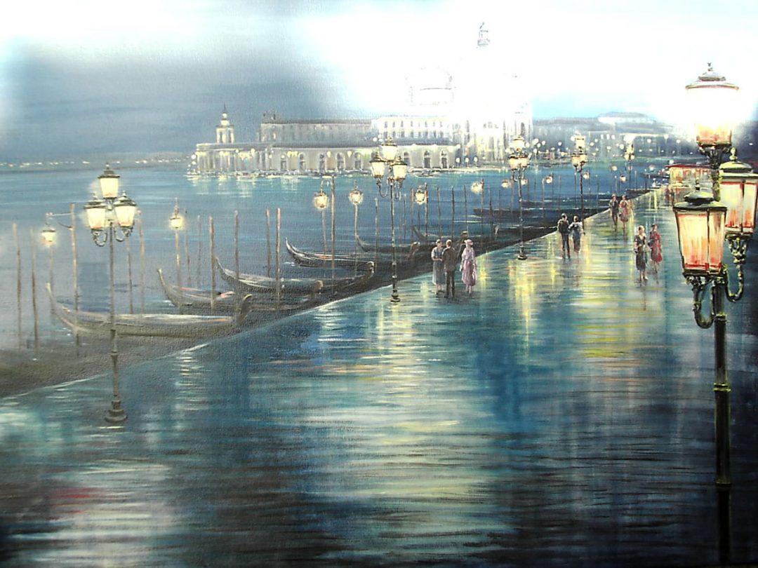 Paris bei Nacht, Öl auf Leinwand, Anneliese Ladas
