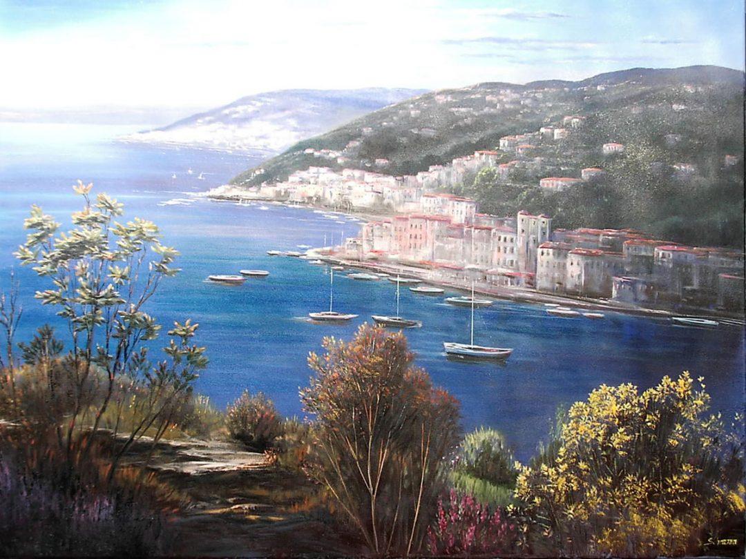 Portofino, Öl auf Leinwand, Anneliese Ladas
