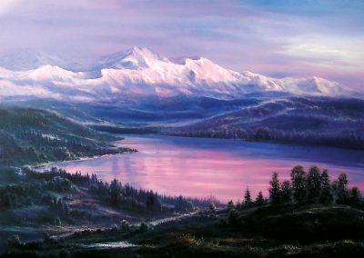 See und Berge im Abendrot