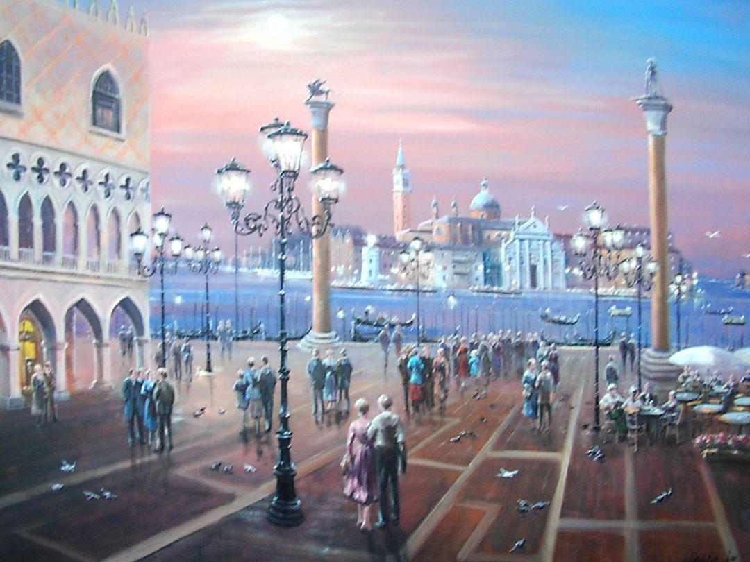 Venedig, Öl auf Leinwand, Anneliese Ladas